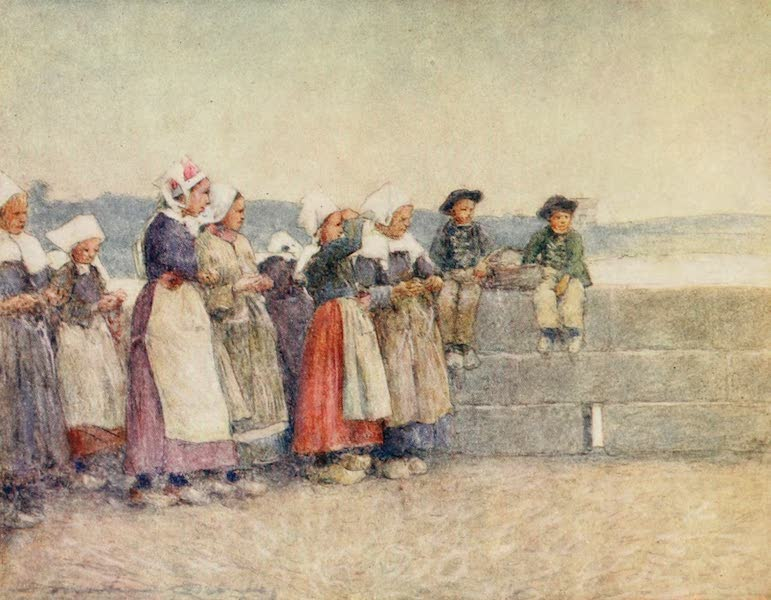 Brittany by Mortimer Menpes - Watching for the Fishing-fleet, Concarneau (1912)