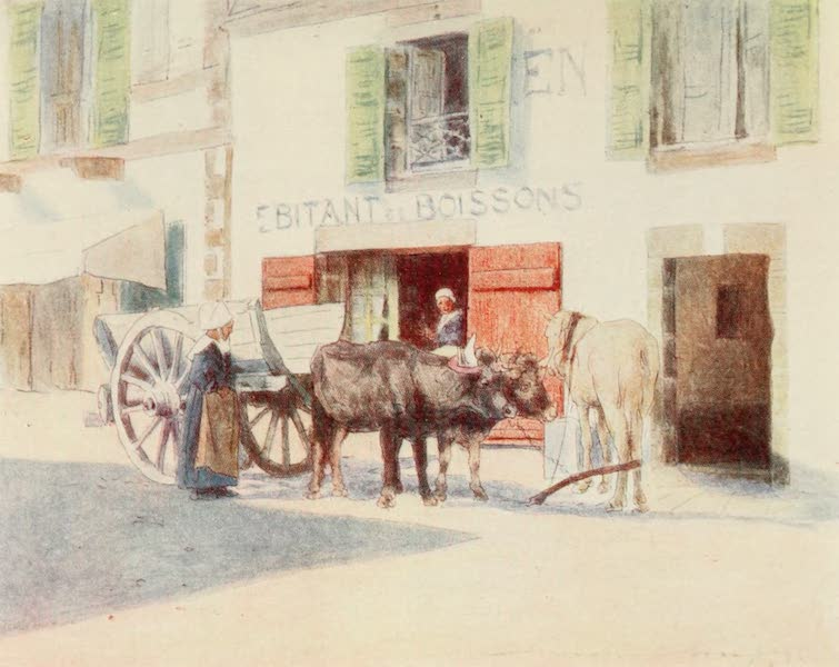 Brittany by Mortimer Menpes - A Sand-Cart on the Quay, Pont-Aven (1912)