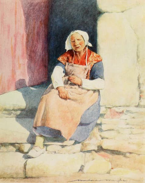 Brittany by Mortimer Menpes - On the Steps of the Mill House, Pont Aven (1912)