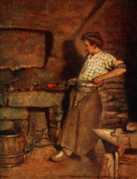 Brittany by Mortimer Menpes - The Village Forge, Pont Aven (1912)