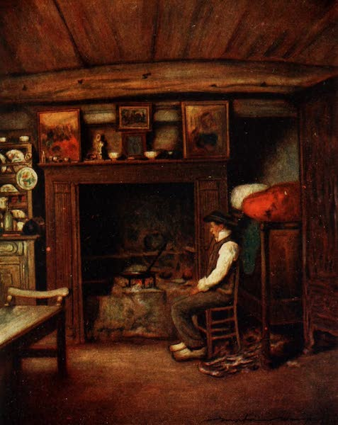 Brittany by Mortimer Menpes - A Farmhouse Kitchen (1912)