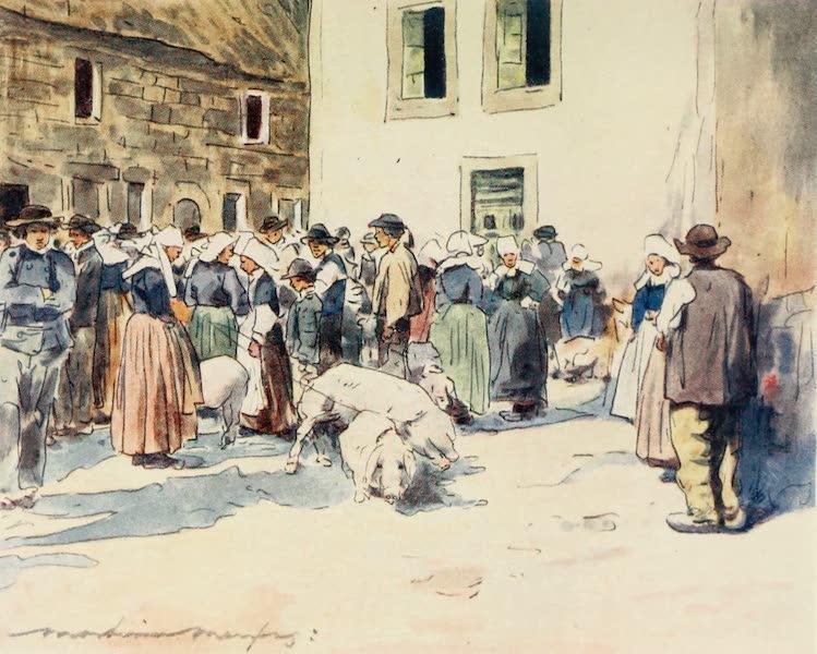 Brittany by Mortimer Menpes - A Pig-Market (1912)