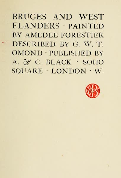 Bruges and West Flanders, Painted and Described - Title Page (1906)