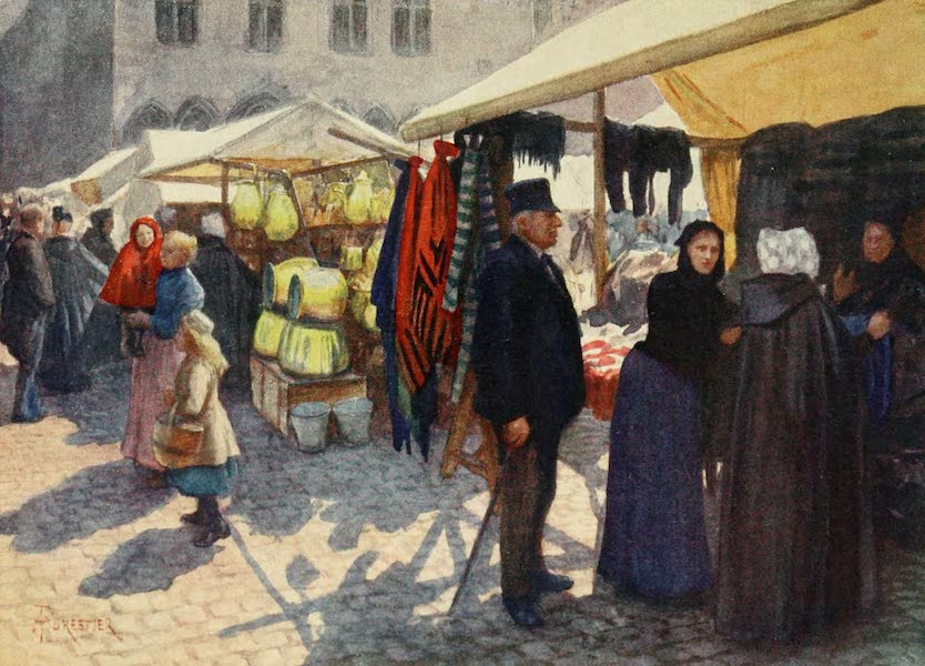 Bruges and West Flanders, Painted and Described - Bruges : A Comer of the Market on the Grand' Place (1906)