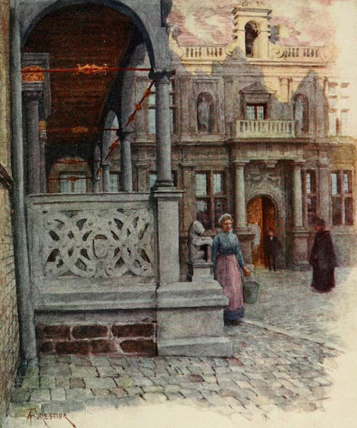 Bruges and West Flanders, Painted and Described - Furnes: Peristyle of Town Hall and Palais de Justice (1906)