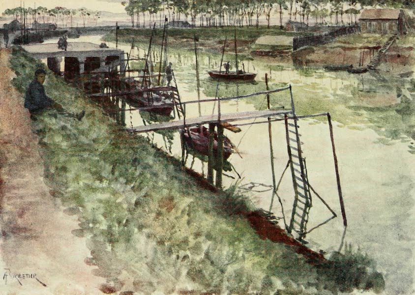 Bruges and West Flanders, Painted and Described - Nieuport : The Quay, with Eel-boats and Landing-stages (1906)