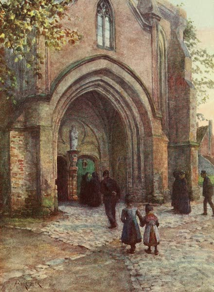 Bruges and West Flanders, Painted and Described - Nieuport : Church Porch (Evensong) (1906)