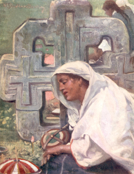 Bulgaria - A Young Widow at her Husband's Grave (1915)