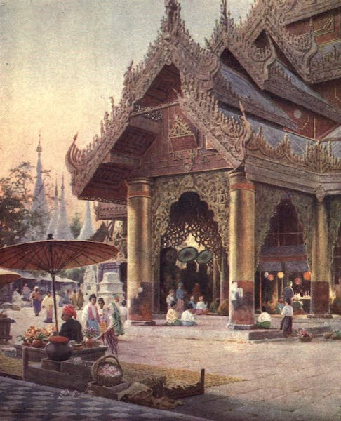Burma, Painted and Described - Shrine on the Platform of the Shwe Dagon Pagoda (1905)