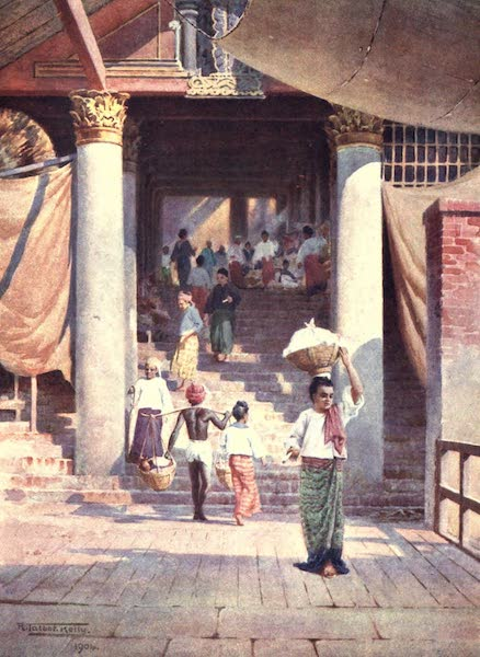 Burma, Painted and Described - The Pagoda Steps, Rangoon (1905)
