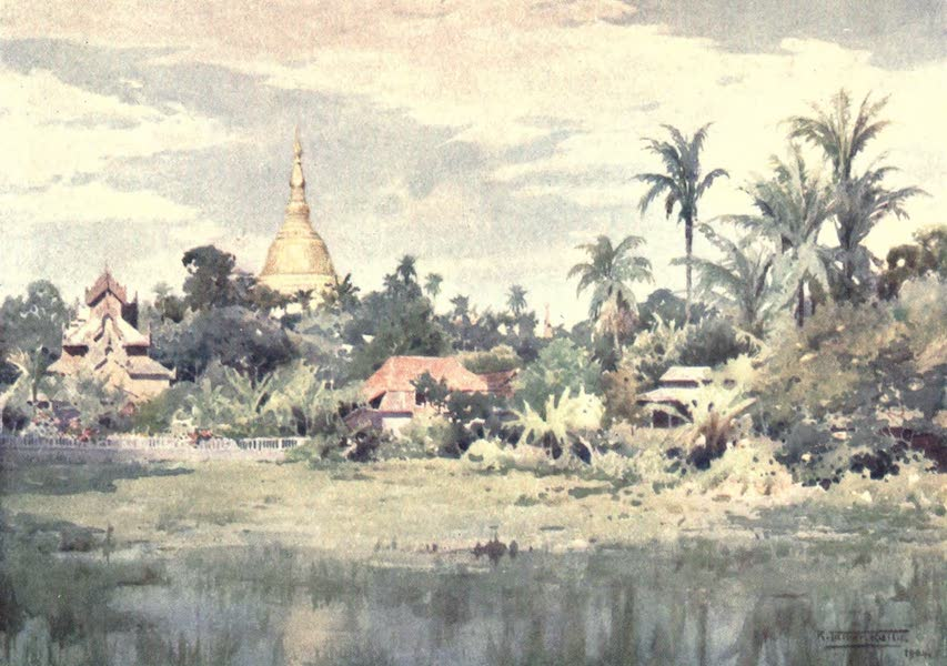 Burma, Painted and Described - The Shwe Dagon from the Bahan Tank (1905)