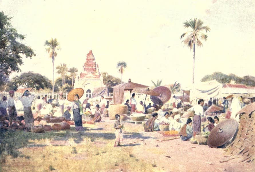 Burma, Painted and Described - Market-Place at Taungdwingyi (1905)