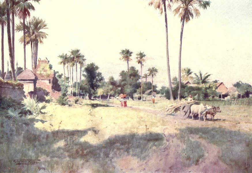 Burma, Painted and Described - A Street in Taungdwingyi (1905)