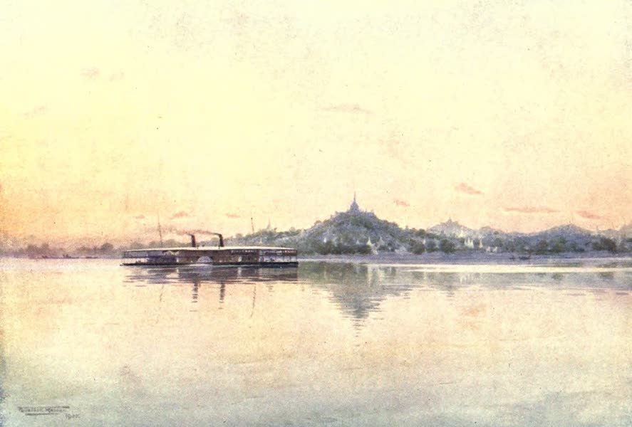 Burma, Painted and Described - Express Steamer passing Sagaing (1905)