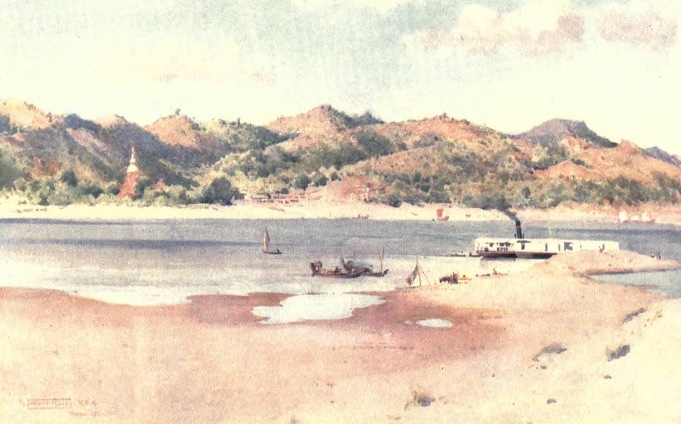 Burma, Painted and Described - Landing-Ghaut at Prome - Low River (1905)