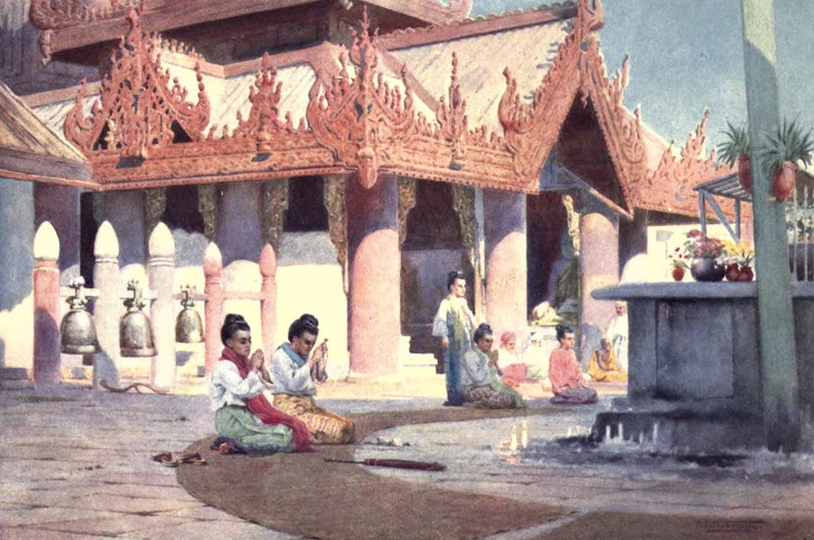 Burma, Painted and Described - Prayer on the Pagoda Platform - Prome (1905)