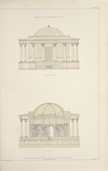Byzantine Architecture - Temple of Portumnus at Ostia - Elevation and Section (1864)