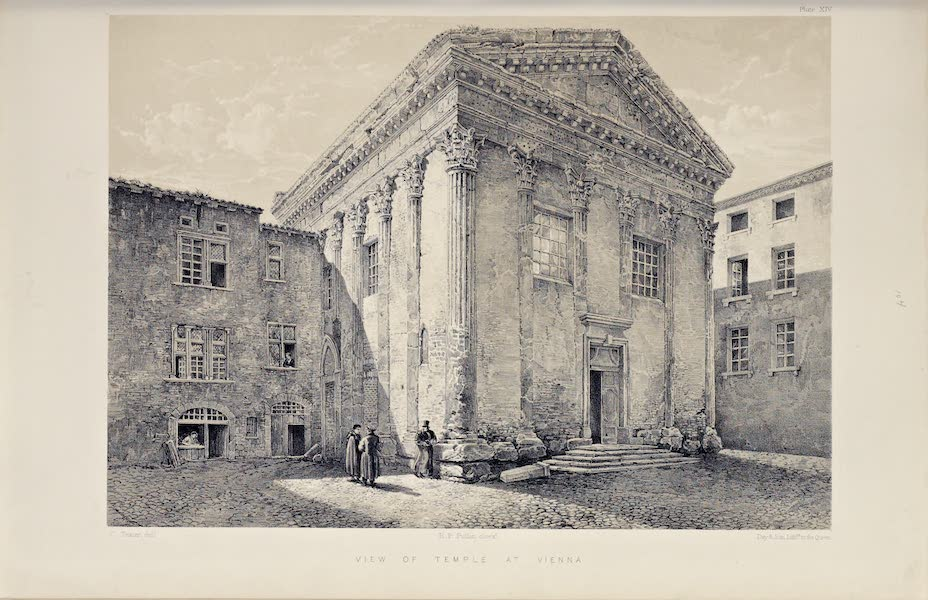 Byzantine Architecture - View of the Temple of Augustus at Vienne  (1864)