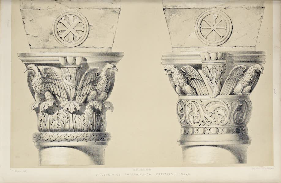 Byzantine Architecture - The Church of St. Demetrius at Thessalonica - Capitals in the Nave [I] (1864)