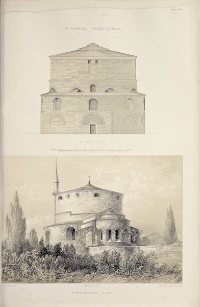 Byzantine Architecture - The Church of St. George, Thessalonica - Elevation - View of the East End (1864)
