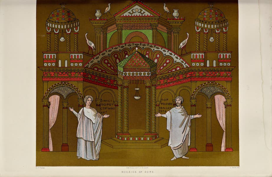 Byzantine Architecture - The Church of St. George, Thessalonica - Mosaics of the Dome [III] (1864)