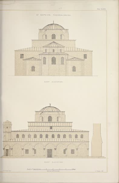 Byzantine Architecture - The Church of St. Sophia, Thessalonica - West Elevation - East Elevation (1864)