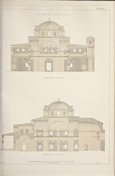 Byzantine Architecture - The Church of St. Sophia, Thessalonica - Longitudinal Section - Transverse Section (1864)