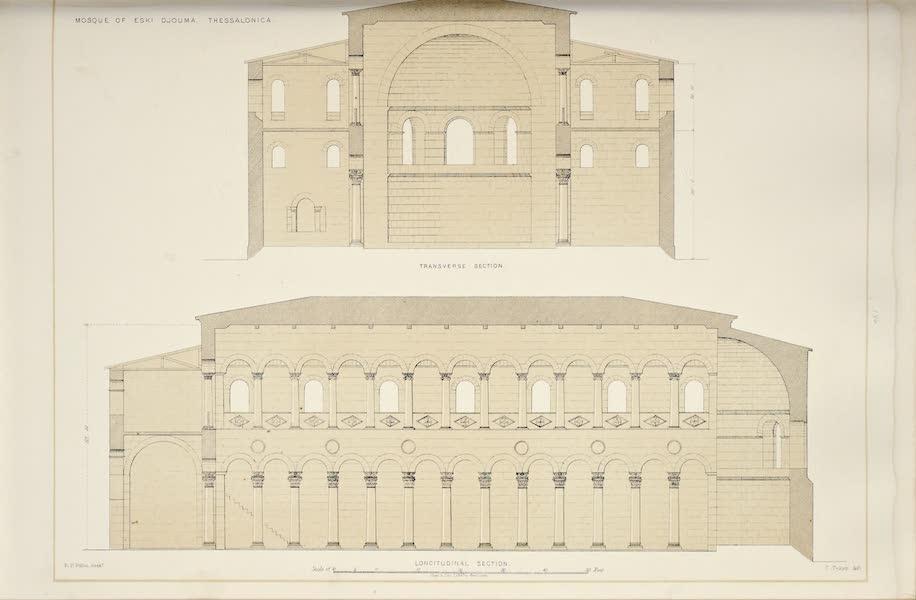 Byzantine Architecture - Eski Djouma, Thessalonica - Longitudinal Section - Transverse Section (1864)