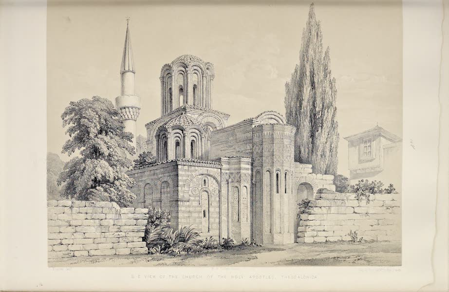 Byzantine Architecture - The Church of the Holy Apostles, Thessalonica - South-East View (1864)