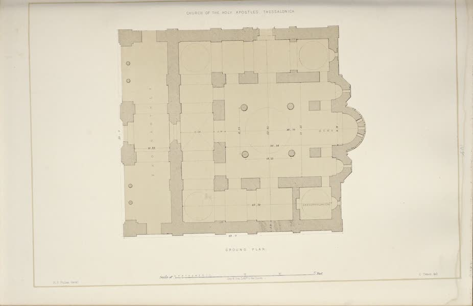 Byzantine Architecture - The Church of the Holy Apostles, Thessalonica - Ground Plan (1864)