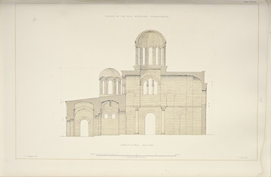 Byzantine Architecture - The Church of the Holy Apostles, Thessalonica - Longitudinal Section (1864)