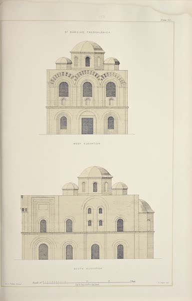Byzantine Architecture - The Church of St. Bardias, Thessalonica - West and South Elevations (1864)