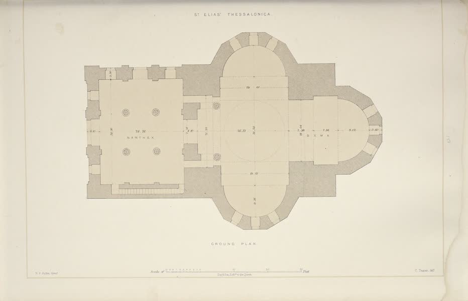 Byzantine Architecture - The Church of St. Elias, Thessalonica - Plan (1864)