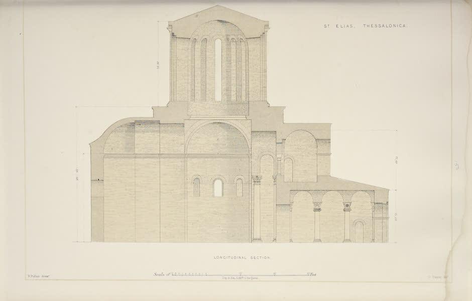 Byzantine Architecture - The Church of St. Elias, Thessalonica - Longitudinal Section (1864)