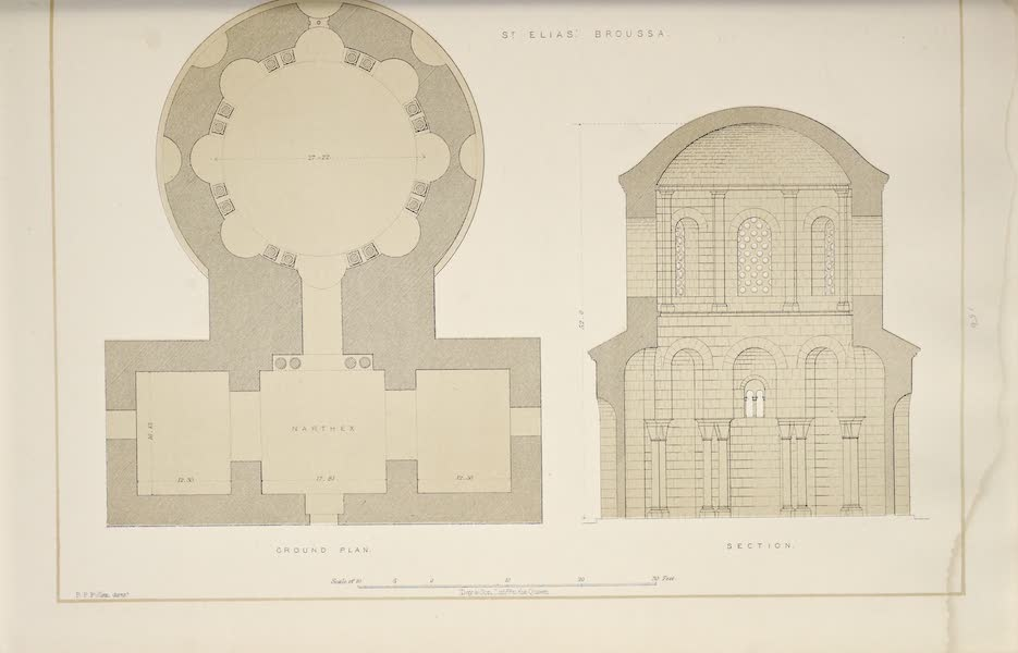 Byzantine Architecture - The Church of St. Elias, Broussa, - Plan - Section (1864)