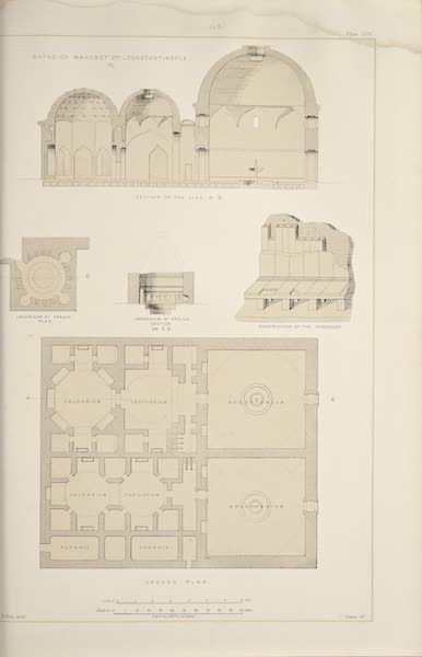 Byzantine Architecture - The Baths of Mahomet II at Constantinople - Plan - Section (1864)