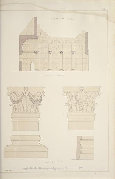 Byzantine Architecture - The Church of Dana - Plan - Longitudinal Section (1864)