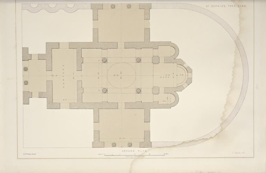 Byzantine Architecture - The Church of St. Sophia at Trebizond - Ground Plan (1864)