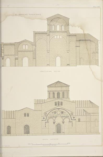 Byzantine Architecture - The Church of St. Sophia at Trebizond - South Elevation - Longitudinal Section (1864)