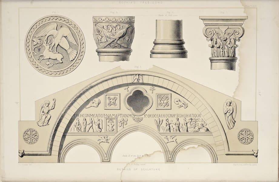 Byzantine Architecture - The Church of St. Sophia at Trebizond - Details of Sculpture (1864)