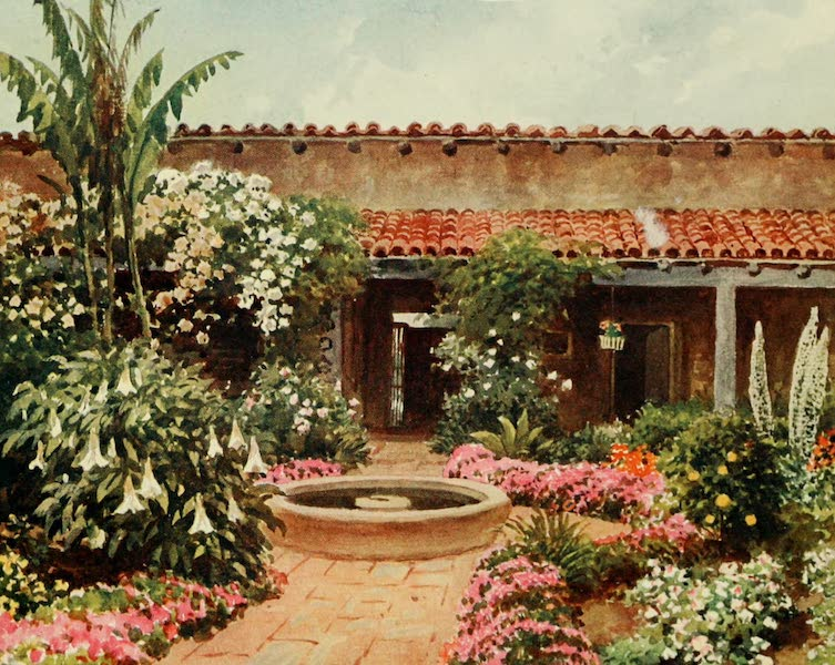 California : The Land of the Sun - The Patio, Old Spanish Residence (1914)