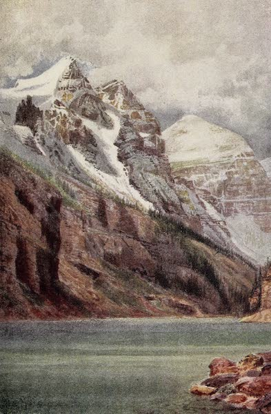 Canada, Painted and Described - End of Lake Louise, and Mount Aberdeen (1907)