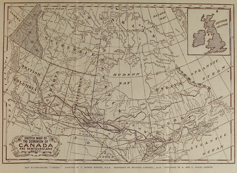 Canada, Painted and Described - Sketch Map of the Dominion of Canada and Newfoundland (1907)