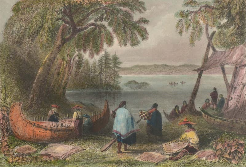 Canadian Scenery Illustrated: Volume 1 - Canoe building at Papper's Island (1865)