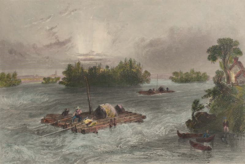 Canadian Scenery Illustrated: Volume 1 - Rapids, on the approach to the Village of Cedars (1865)