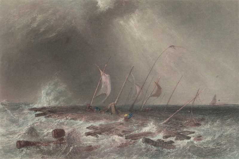 Canadian Scenery Illustrated: Volume 1 - Raft in a Squall, on Lake St. Peter (1865)