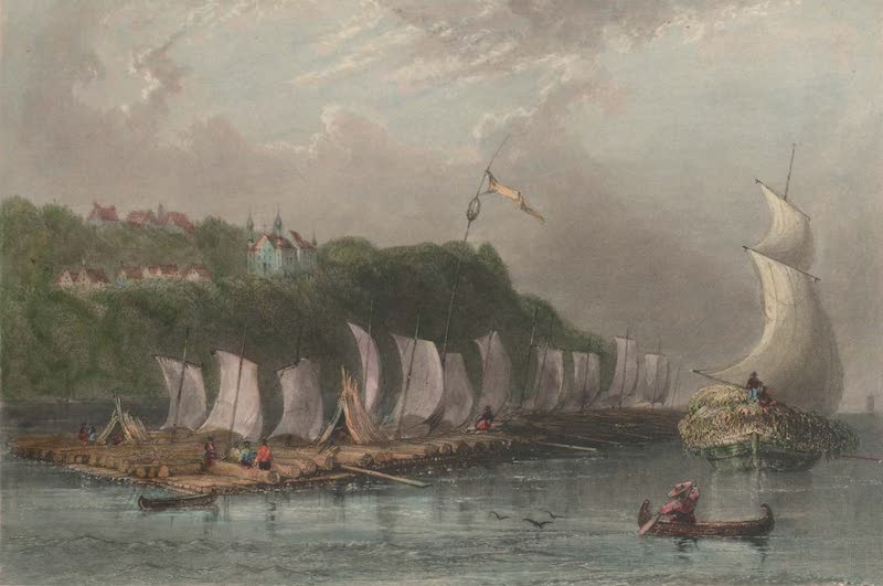 Canadian Scenery Illustrated: Volume 1 - Raft on the St. Laurence at Cape Sante (1865)
