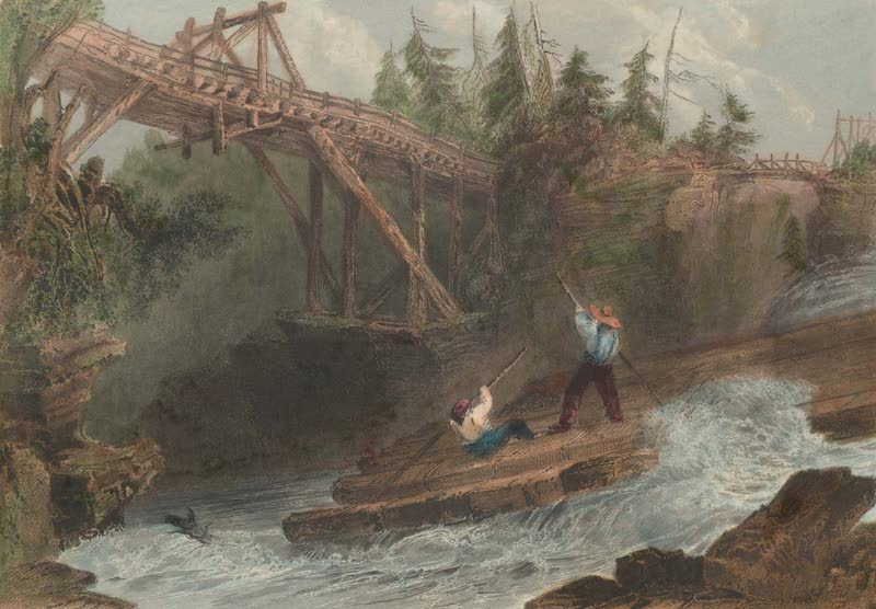 Canadian Scenery Illustrated: Volume 2 - Timber Slide and Bridge on the Ottawa (1865)