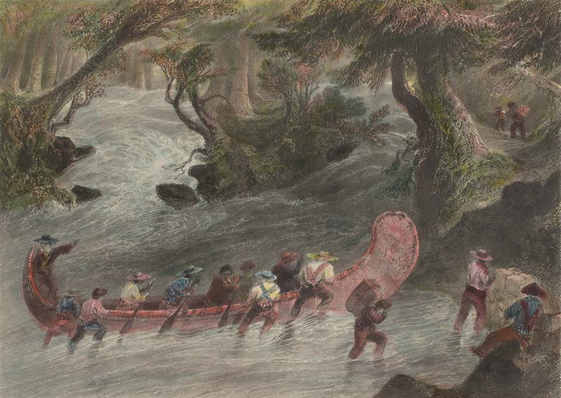 Canadian Scenery Illustrated: Volume 2 - Working a Canoe up a Rapid (1865)