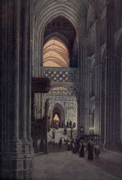 Canterbury Painted and Described - In the Nave of the Cathedral after Evensong (1907)